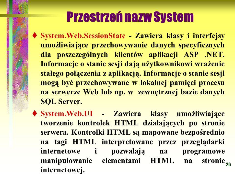 26 Przestrzeń nazw System  System.Web.SessionState - Zawiera klasy i interfejsy umożliwiające przechowywanie danych specyficznych dla poszczególnych