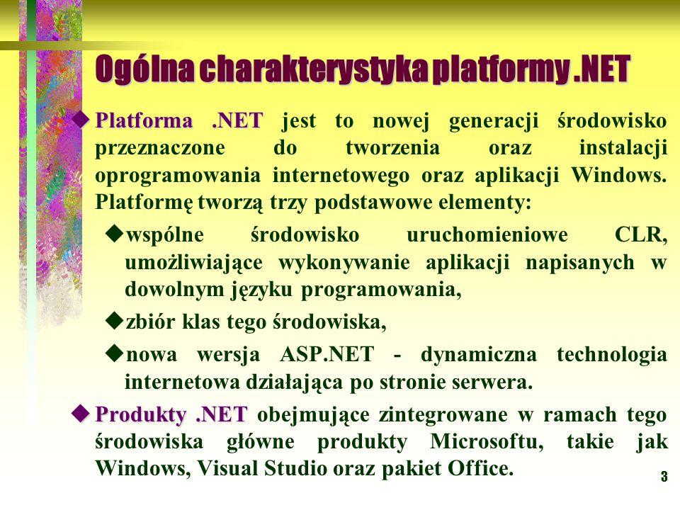 4 Ogólna charakterystyka platformy.NET Integracja produktów.NET oparta jest na:  XML- języku opisu danych,  SOAP - protokole transmisji danych między produktami.
