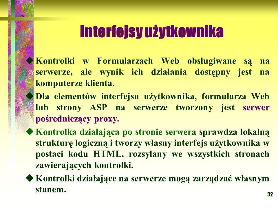 32 Interfejsy użytkownika  Kontrolki w Formularzach Web obsługiwane są na serwerze, ale wynik ich działania dostępny jest na komputerze klienta. serw