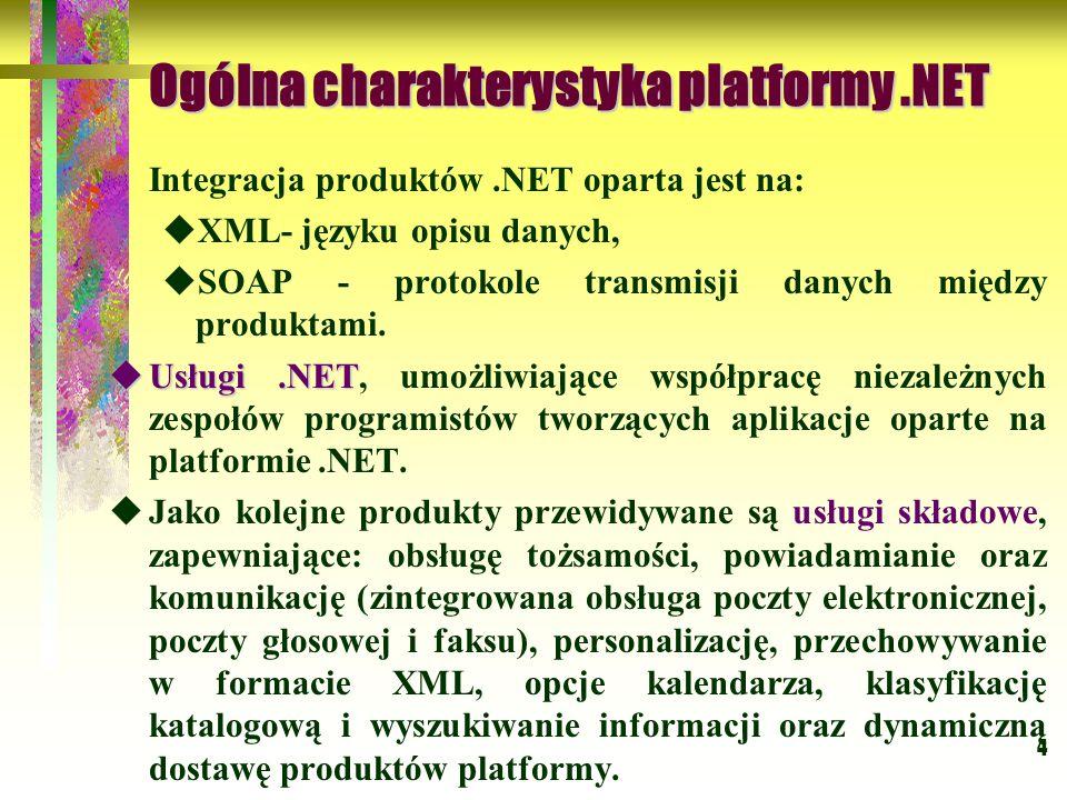 4 Ogólna charakterystyka platformy.NET Integracja produktów.NET oparta jest na:  XML- języku opisu danych,  SOAP - protokole transmisji danych międz