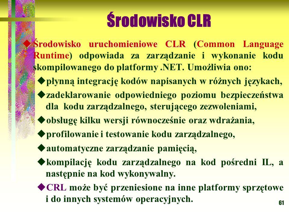 61 Środowisko CLR  Środowisko uruchomieniowe CLR  Środowisko uruchomieniowe CLR (Common Language Runtime) odpowiada za zarządzanie i wykonanie kodu