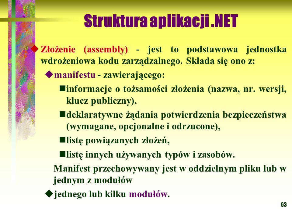 63 Struktura aplikacji.NET  Złożenie (assembly)  Złożenie (assembly) - jest to podstawowa jednostka wdrożeniowa kodu zarządzalnego. Składa się ono z