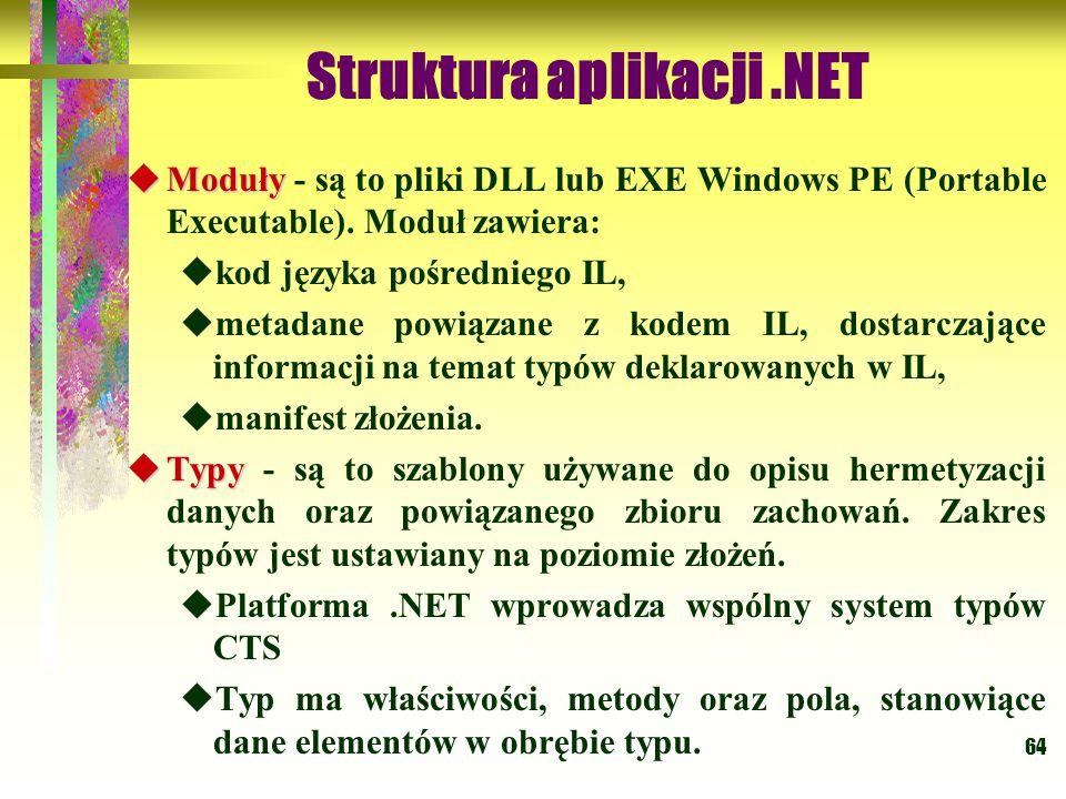 64 Struktura aplikacji.NET  Moduły  Moduły - są to pliki DLL lub EXE Windows PE (Portable Executable). Moduł zawiera:  kod języka pośredniego IL, 