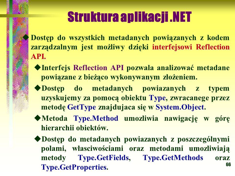 66 Struktura aplikacji.NET interfejsowi Reflection API.  Dostęp do wszystkich metadanych powiązanych z kodem zarządzalnym jest możliwy dzięki interfe