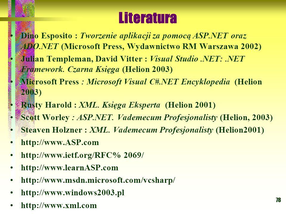 78 Dino Esposito : Tworzenie aplikacji za pomocą ASP.NET oraz ADO.NET (Microsoft Press, Wydawnictwo RM Warszawa 2002) Julian Templeman, David Vitter :