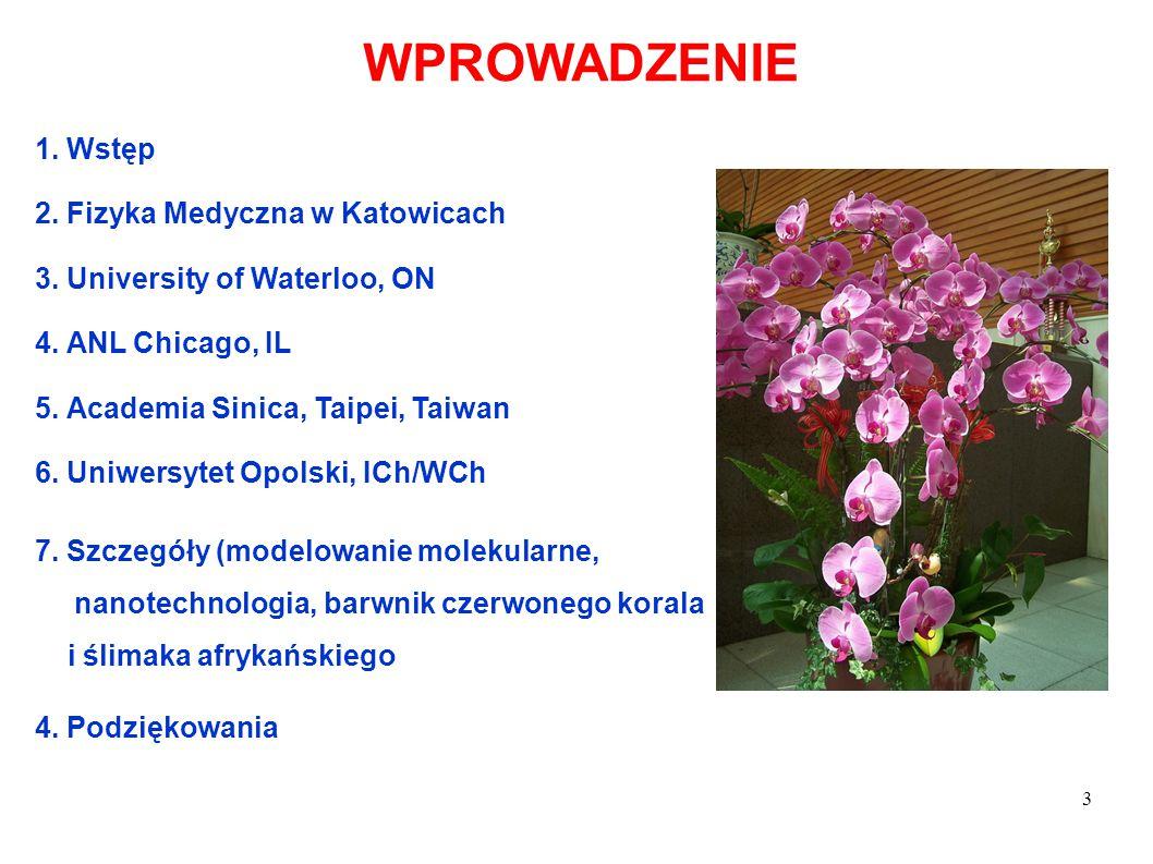 3 WPROWADZENIE 1. Wstęp 2. Fizyka Medyczna w Katowicach 3. University of Waterloo, ON 4. ANL Chicago, IL 5. Academia Sinica, Taipei, Taiwan 6. Uniwers