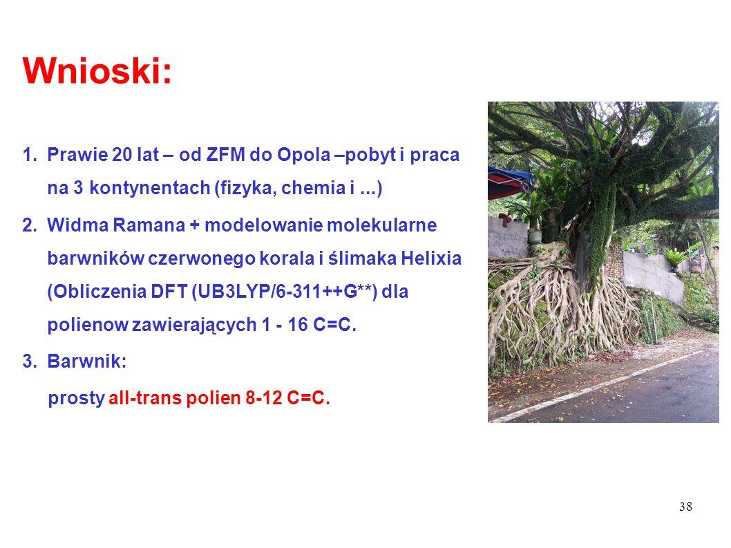 38 Wnioski: 1.Prawie 20 lat – od ZFM do Opola –pobyt i praca na 3 kontynentach (fizyka, chemia i...) 2.Widma Ramana + modelowanie molekularne barwnikó