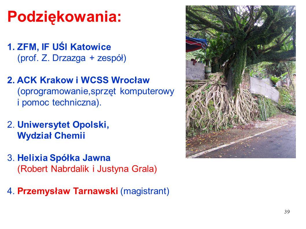 39 Podziękowania: 1. ZFM, IF UŚl Katowice (prof. Z. Drzazga + zespół) 2. ACK Krakow i WCSS Wrocław (oprogramowanie,sprzęt komputerowy i pomoc technicz