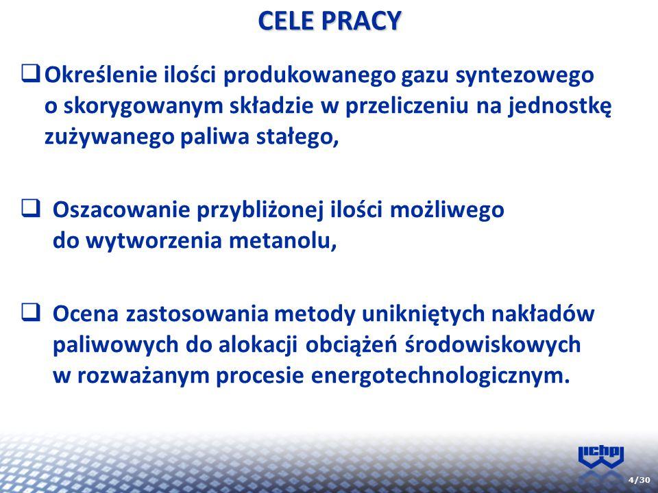 4/30 CELE PRACY  Określenie ilości produkowanego gazu syntezowego o skorygowanym składzie w przeliczeniu na jednostkę zużywanego paliwa stałego,  Os