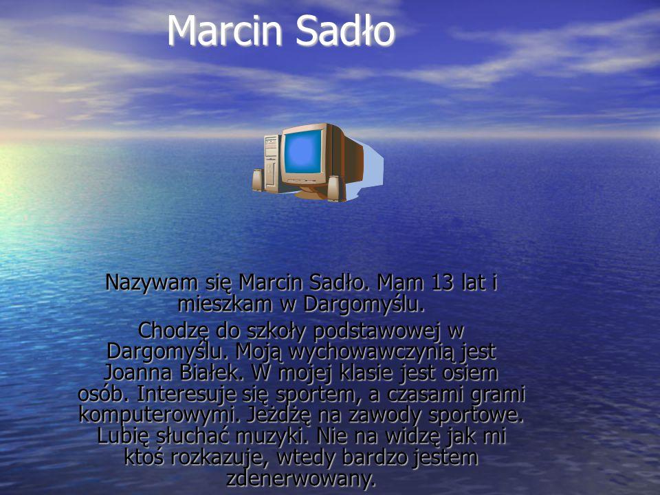 Marcin Sadło Nazywam się Marcin Sadło.Mam 13 lat i mieszkam w Dargomyślu.