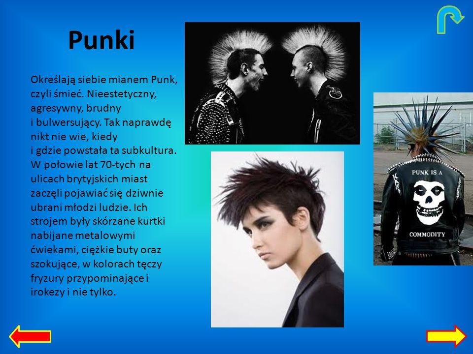 Punki Określają siebie mianem Punk, czyli śmieć.Nieestetyczny, agresywny, brudny i bulwersujący.