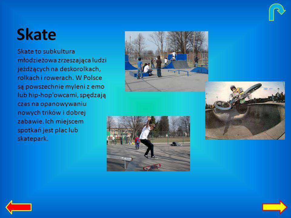 Skate Skate to subkultura młodzieżowa zrzeszająca ludzi jeżdżących na deskorolkach, rolkach i rowerach.