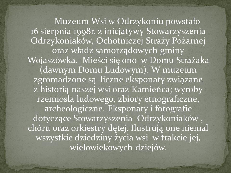 Muzeum Wsi w Odrzykoniu powstało 16 sierpnia 1998r. z inicjatywy Stowarzyszenia Odrzykoniaków, Ochotniczej Straży Pożarnej oraz władz samorządowych gm