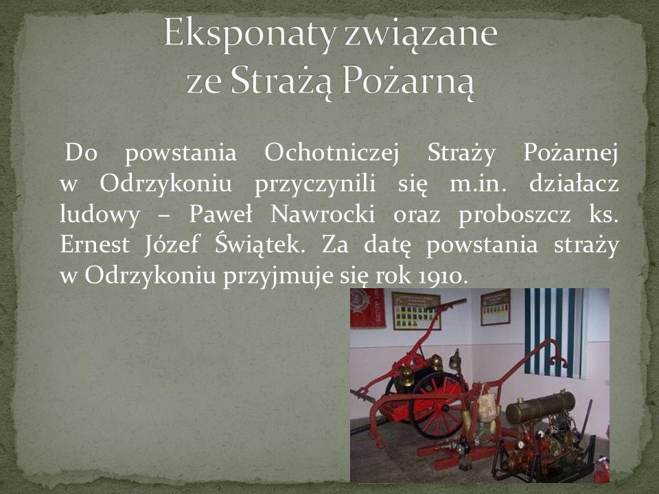 Do powstania Ochotniczej Straży Pożarnej w Odrzykoniu przyczynili się m.in. działacz ludowy – Paweł Nawrocki oraz proboszcz ks. Ernest Józef Świątek.