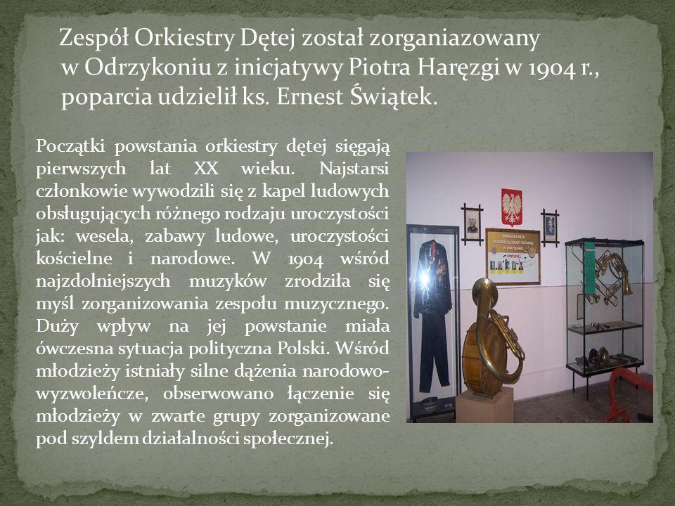 Zespół Orkiestry Dętej został zorganiazowany w Odrzykoniu z inicjatywy Piotra Haręzgi w 1904 r., poparcia udzielił ks. Ernest Świątek. Początki powsta