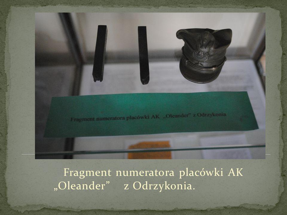 """Fragment numeratora placówki AK """"Oleander"""" z Odrzykonia."""