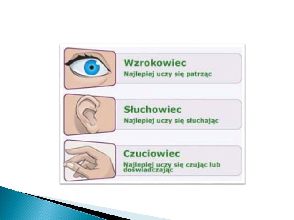 Wzrokowca Charakteryzuje duża ilość ruchów mimicznych wokół oczu (mrużenie oczu, mruganie, podnoszenie brwi) oraz - symptomy zewnętrzne - wysoki głos, duża wyobraźnia.