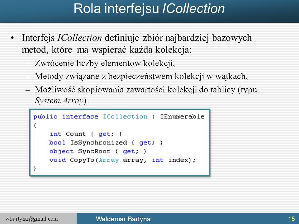 wbartyna@gmail.com Waldemar Bartyna Rola interfejsu ICollection Interfejs ICollection definiuje zbiór najbardziej bazowych metod, które ma wspierać ka