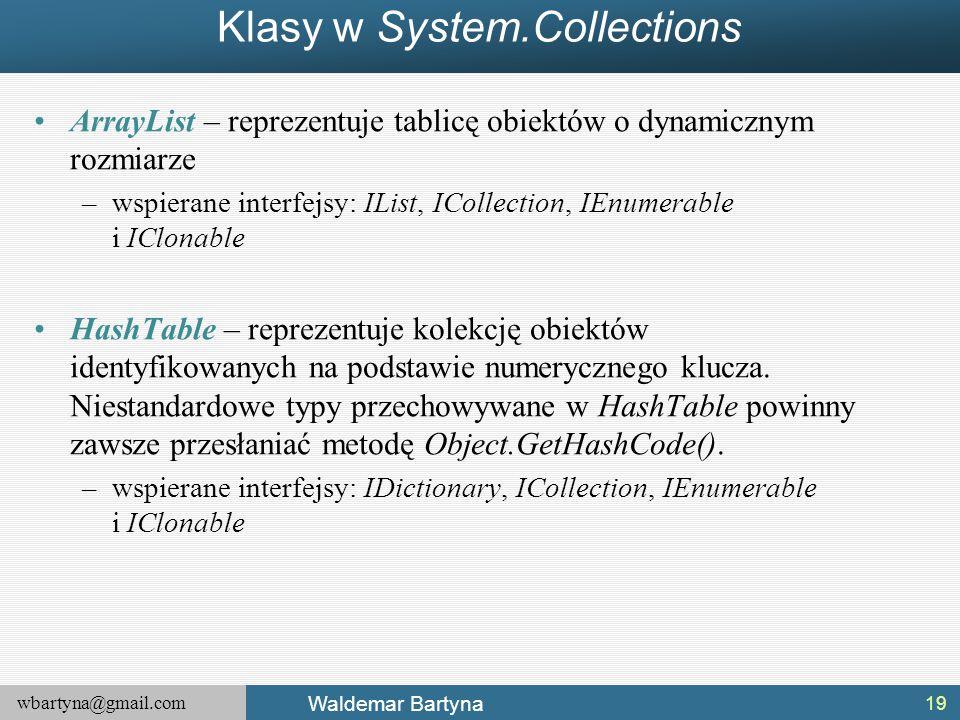 wbartyna@gmail.com Waldemar Bartyna Klasy w System.Collections ArrayList – reprezentuje tablicę obiektów o dynamicznym rozmiarze –wspierane interfejsy