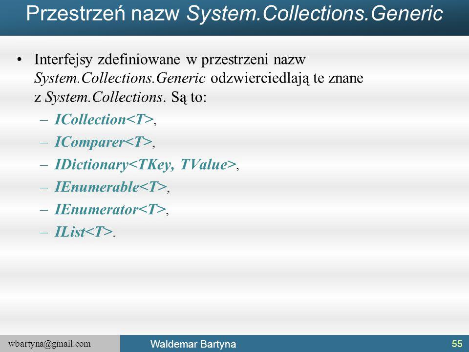 wbartyna@gmail.com Waldemar Bartyna Przestrzeń nazw System.Collections.Generic Interfejsy zdefiniowane w przestrzeni nazw System.Collections.Generic o