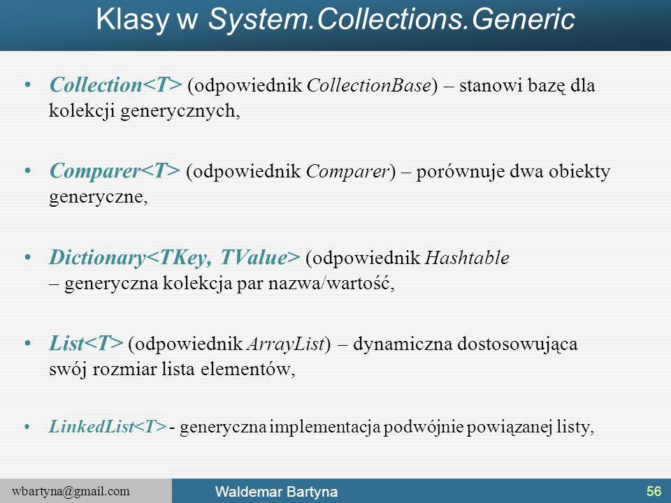 wbartyna@gmail.com Waldemar Bartyna Klasy w System.Collections.Generic Collection (odpowiednik CollectionBase) – stanowi bazę dla kolekcji generycznyc