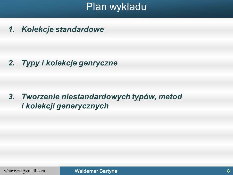 wbartyna@gmail.com Waldemar Bartyna Plan wykładu 1.Kolekcje standardowe 2.Typy i kolekcje genryczne 3.Tworzenie niestandardowych typów, metod i kolekc