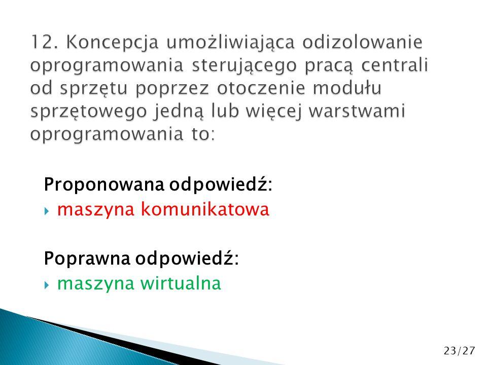 Proponowana odpowiedź:  maszyna komunikatowa Poprawna odpowiedź:  maszyna wirtualna 23/27