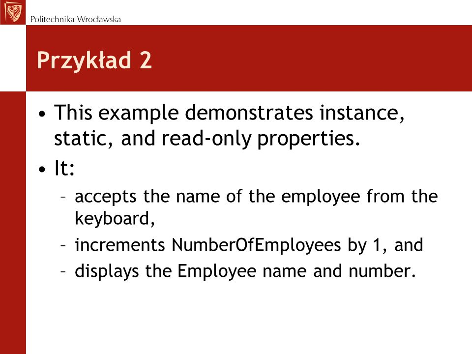 Wyjątki - komentarze W bloku kodu try umieszcza się kod w którym może wystąpić jakiś wyjątek (na przykład przepełnienie indeksu), lub kod który ma zostać poddany kontroli.