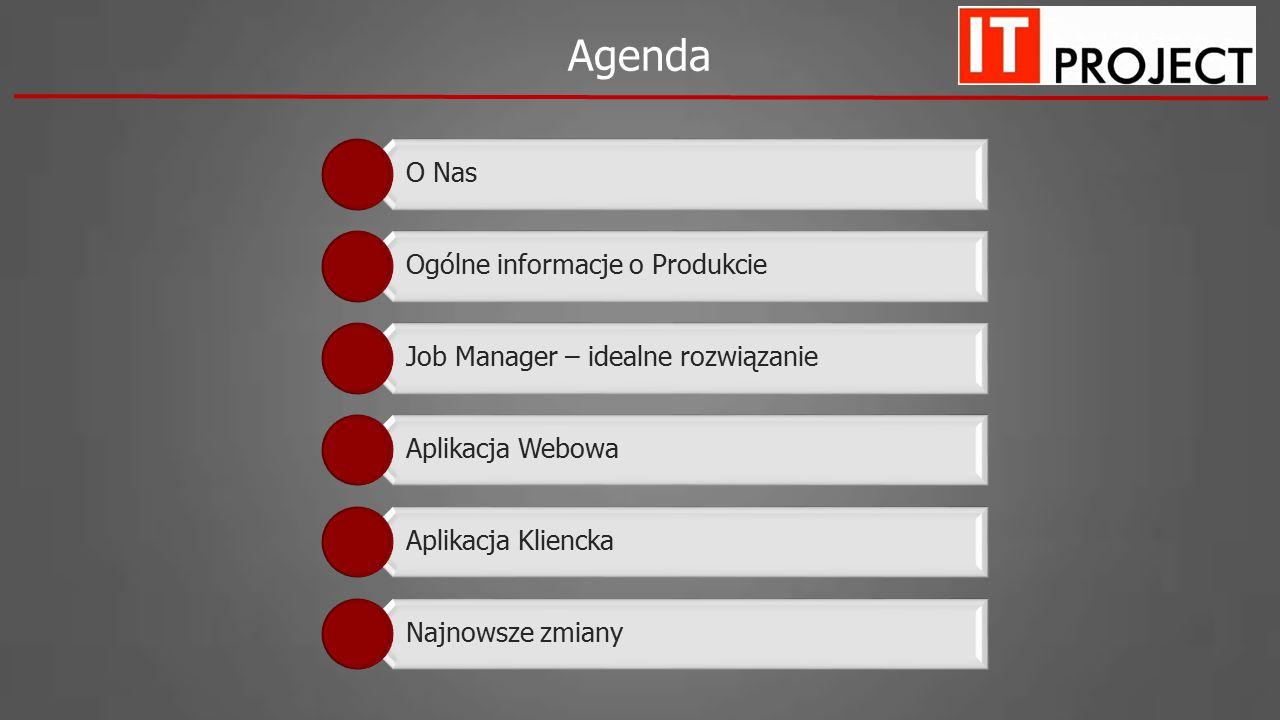 Agenda O Nas Ogólne informacje o Produkcie Job Manager – idealne rozwiązanie Aplikacja Webowa Aplikacja Kliencka Najnowsze zmiany