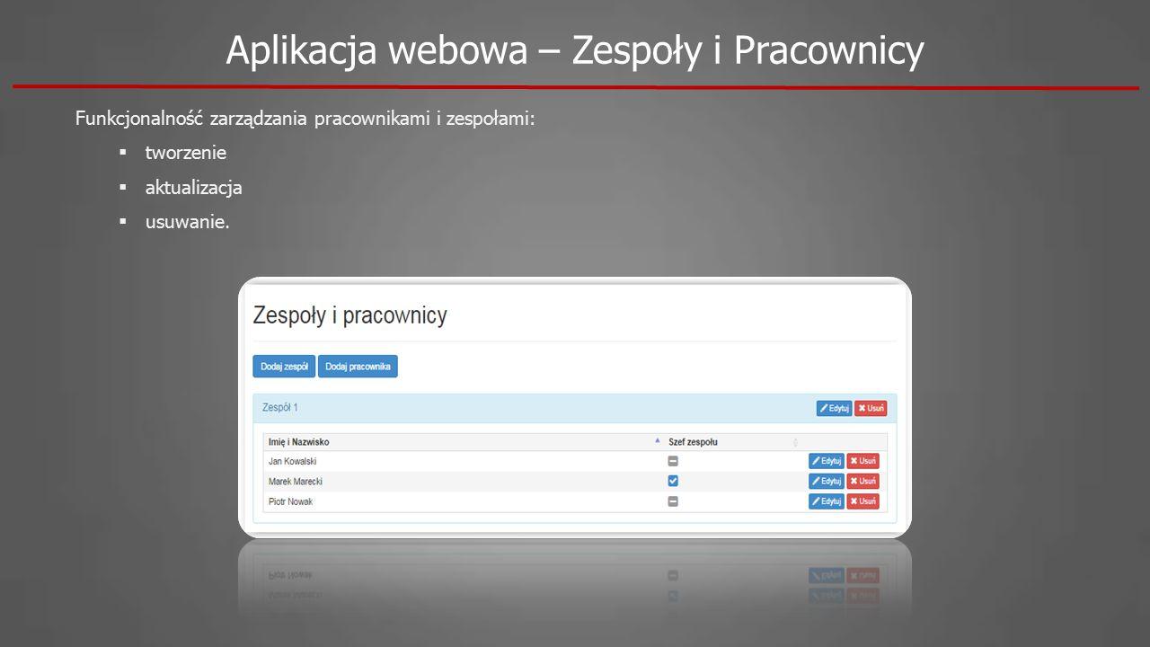 Aplikacja webowa – Zespoły i Pracownicy Funkcjonalność zarządzania pracownikami i zespołami:  tworzenie  aktualizacja  usuwanie.