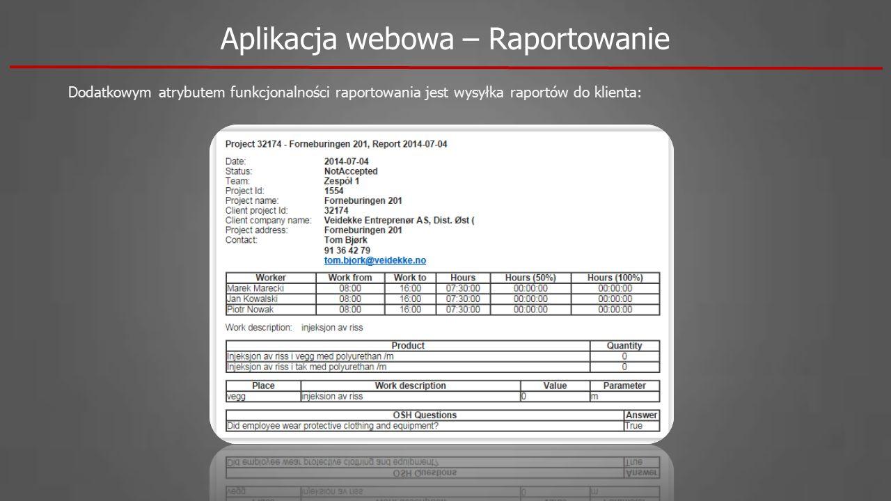 Aplikacja webowa – Raportowanie Dodatkowym atrybutem funkcjonalności raportowania jest wysyłka raportów do klienta: