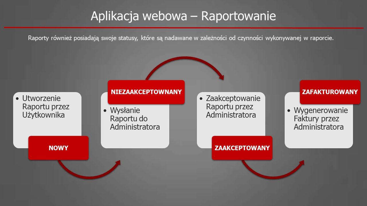 Aplikacja webowa – Raportowanie Raporty również posiadają swoje statusy, które są nadawane w zależności od czynności wykonywanej w raporcie. Utworzeni