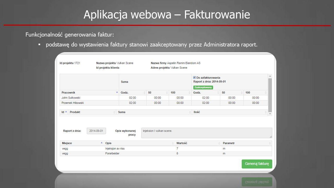 Aplikacja webowa – Fakturowanie Funkcjonalność generowania faktur:  podstawę do wystawienia faktury stanowi zaakceptowany przez Administratora raport.