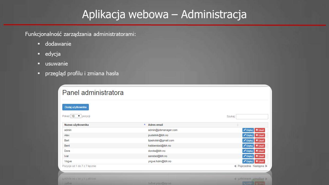 Funkcjonalność zarządzania administratorami:  dodawanie  edycja  usuwanie  przegląd profilu i zmiana hasła Aplikacja webowa – Administracja