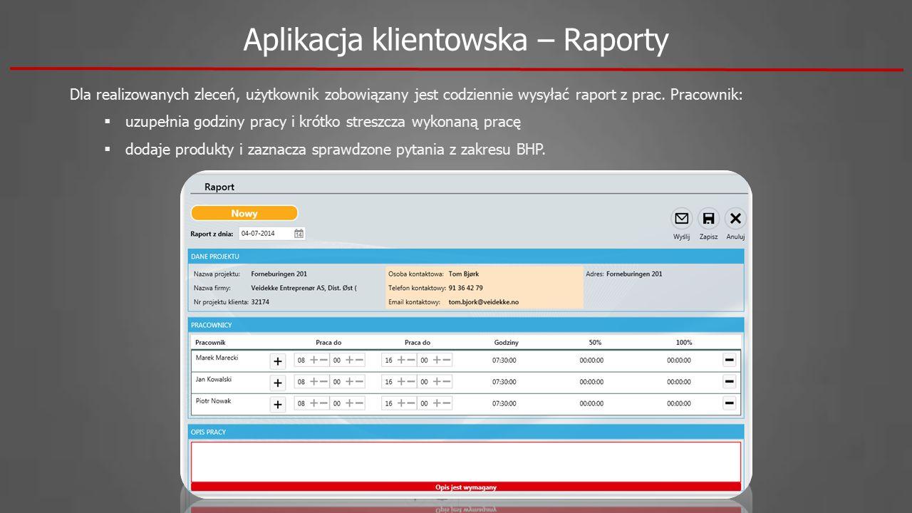 Aplikacja klientowska – Raporty Dla realizowanych zleceń, użytkownik zobowiązany jest codziennie wysyłać raport z prac. Pracownik:  uzupełnia godziny