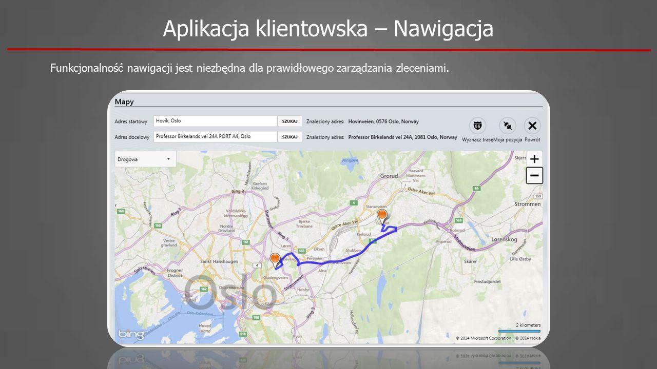 Aplikacja klientowska – Nawigacja Funkcjonalność nawigacji jest niezbędna dla prawidłowego zarządzania zleceniami.