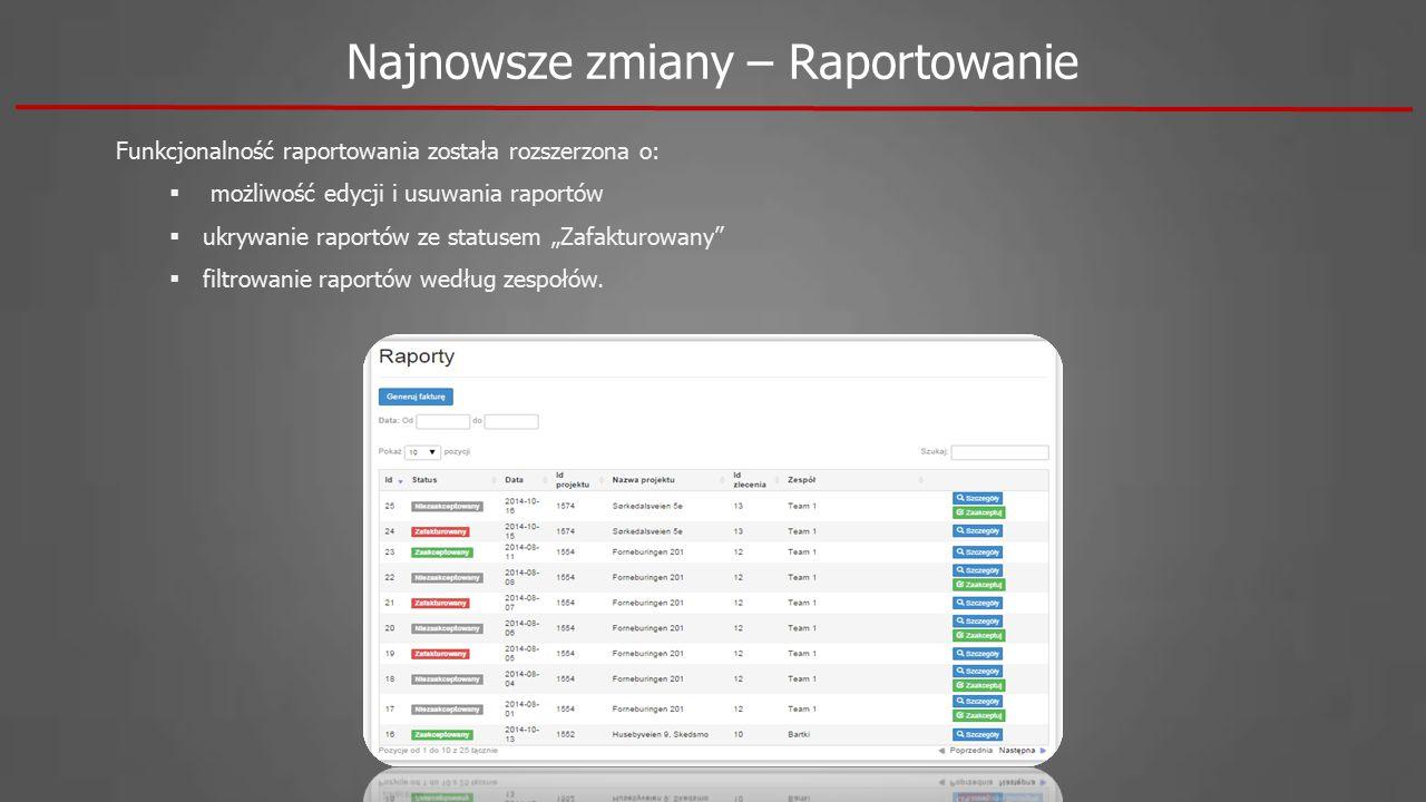 """Funkcjonalność raportowania została rozszerzona o:  możliwość edycji i usuwania raportów  ukrywanie raportów ze statusem """"Zafakturowany  filtrowanie raportów według zespołów."""