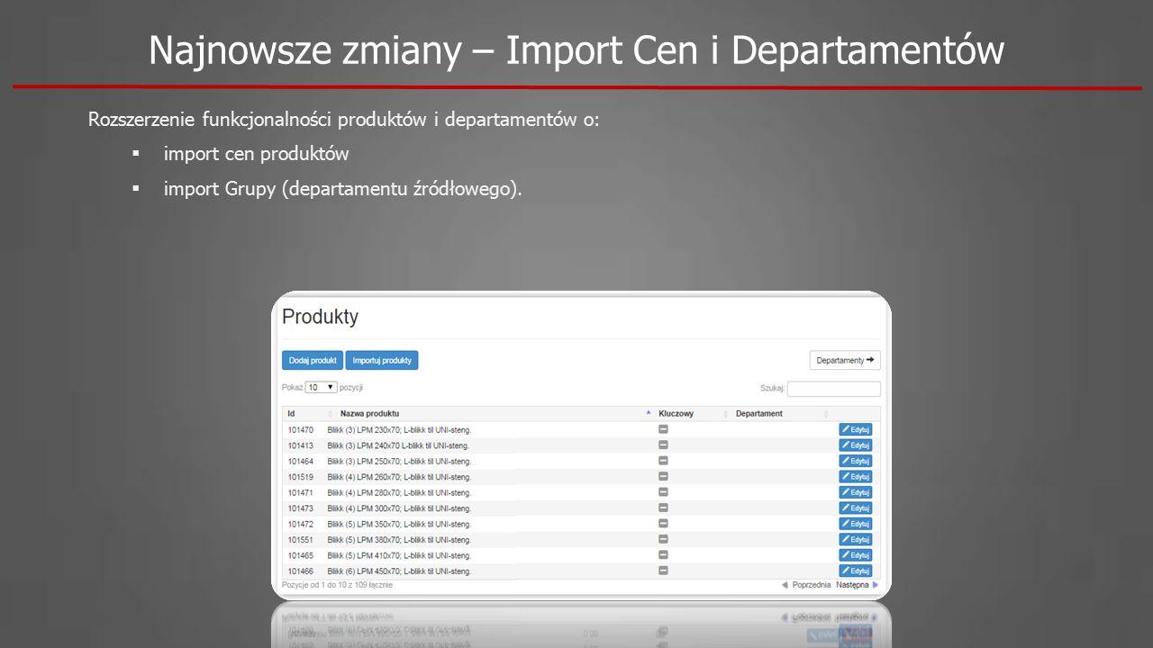 Rozszerzenie funkcjonalności produktów i departamentów o:  import cen produktów  import Grupy (departamentu źródłowego). Najnowsze zmiany – Import C