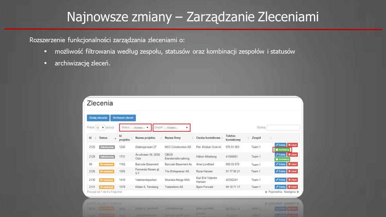 Rozszerzenie funkcjonalności zarządzania zleceniami o:  możliwość filtrowania według zespołu, statusów oraz kombinacji zespołów i statusów  archiwizację zleceń.
