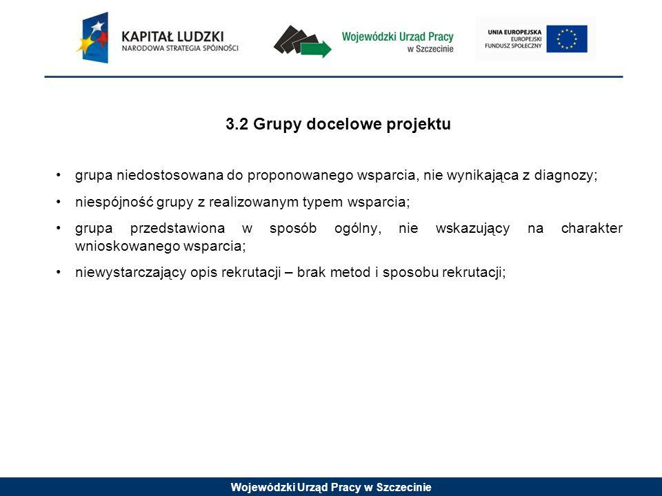 Wojewódzki Urząd Pracy w Szczecinie 3.2 Grupy docelowe projektu grupa niedostosowana do proponowanego wsparcia, nie wynikająca z diagnozy; niespójność grupy z realizowanym typem wsparcia; grupa przedstawiona w sposób ogólny, nie wskazujący na charakter wnioskowanego wsparcia; niewystarczający opis rekrutacji – brak metod i sposobu rekrutacji;