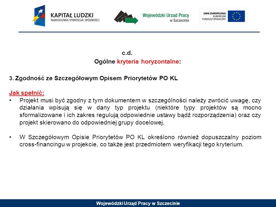 Wojewódzki Urząd Pracy w Szczecinie c.d. Ogólne kryteria horyzontalne: 3.