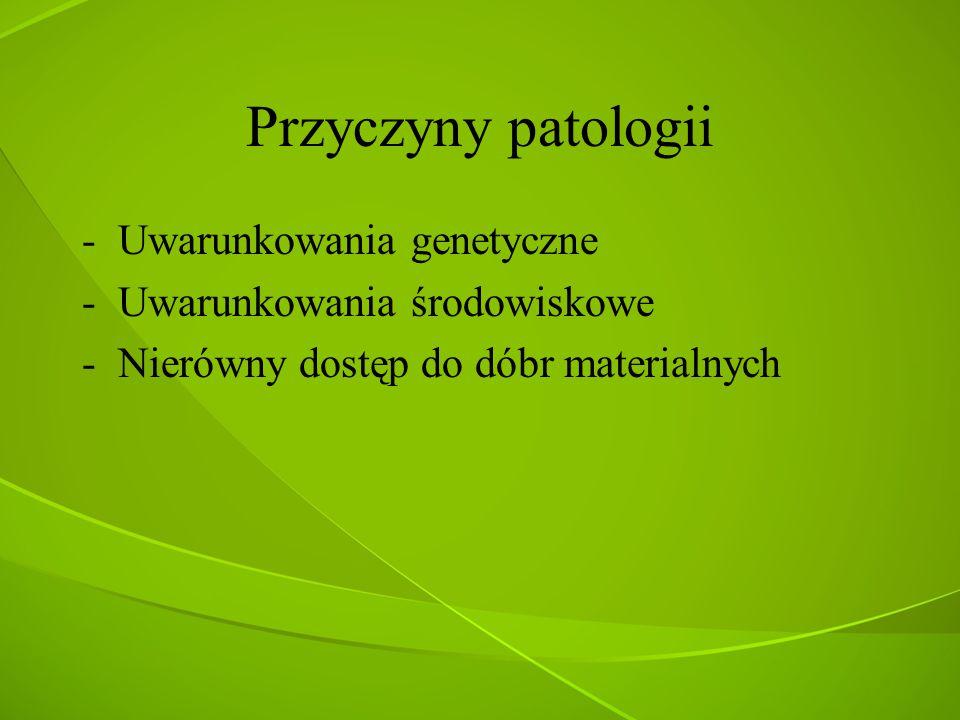 Przyczyny patologii -Uwarunkowania genetyczne -Uwarunkowania środowiskowe -Nierówny dostęp do dóbr materialnych