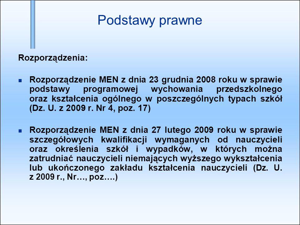 Podstawy prawne Rozporządzenia: Rozporządzenie MEN z dnia 23 grudnia 2008 roku w sprawie podstawy programowej wychowania przedszkolnego oraz kształcen