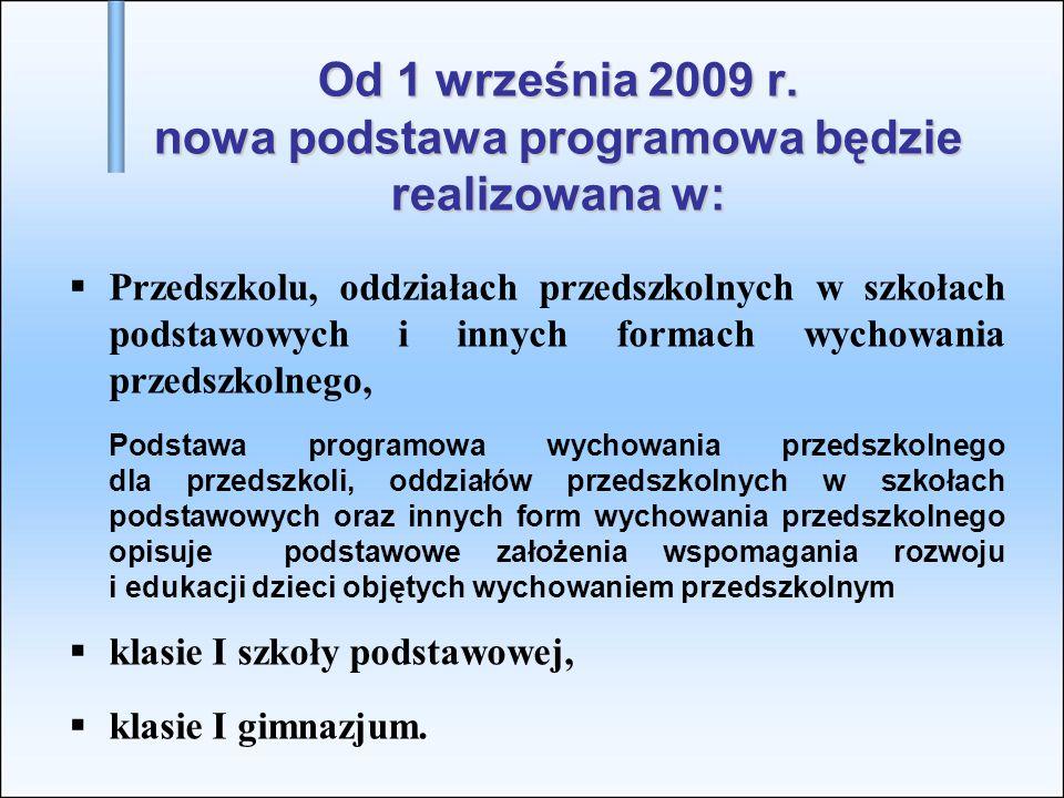 Od 1 września 2009 r. nowa podstawa programowa będzie realizowana w:  Przedszkolu, oddziałach przedszkolnych w szkołach podstawowych i innych formach