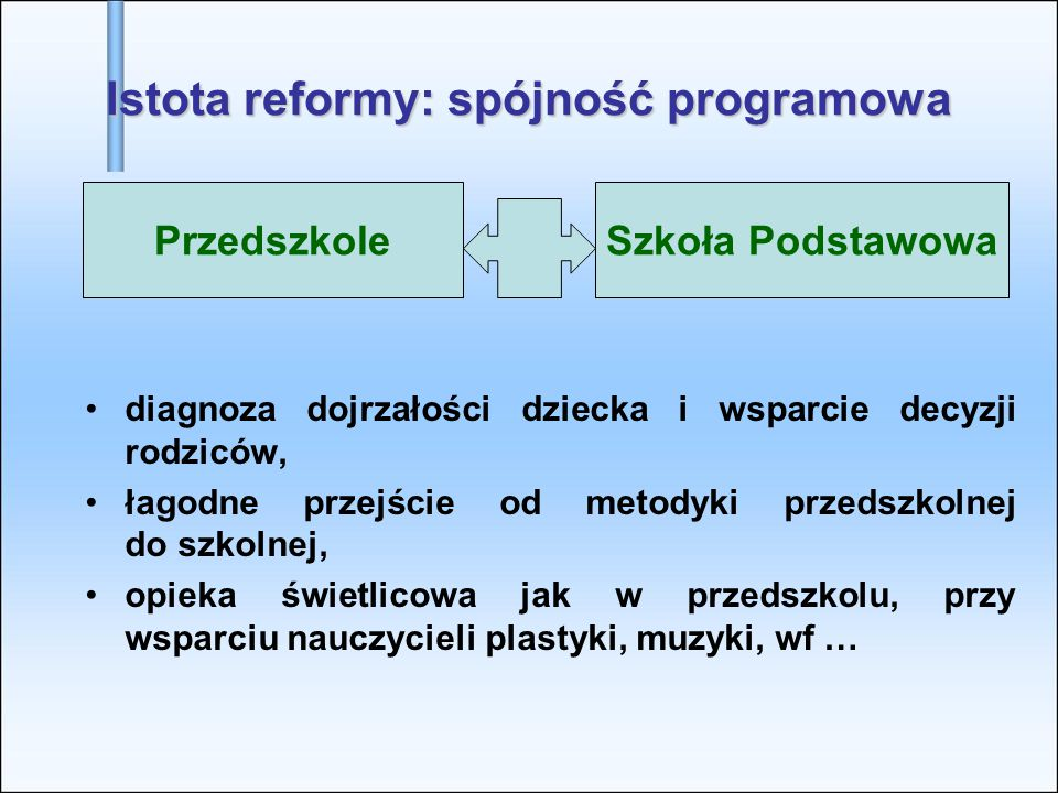 PrzedszkoleSzkoła Podstawowa Istota reformy: spójność programowa diagnoza dojrzałości dziecka i wsparcie decyzji rodziców, łagodne przejście od metody