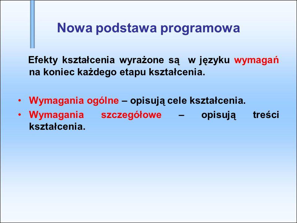 Nowa podstawa programowa Efekty kształcenia wyrażone są w języku wymagań na koniec każdego etapu kształcenia. Wymagania ogólne – opisują cele kształce