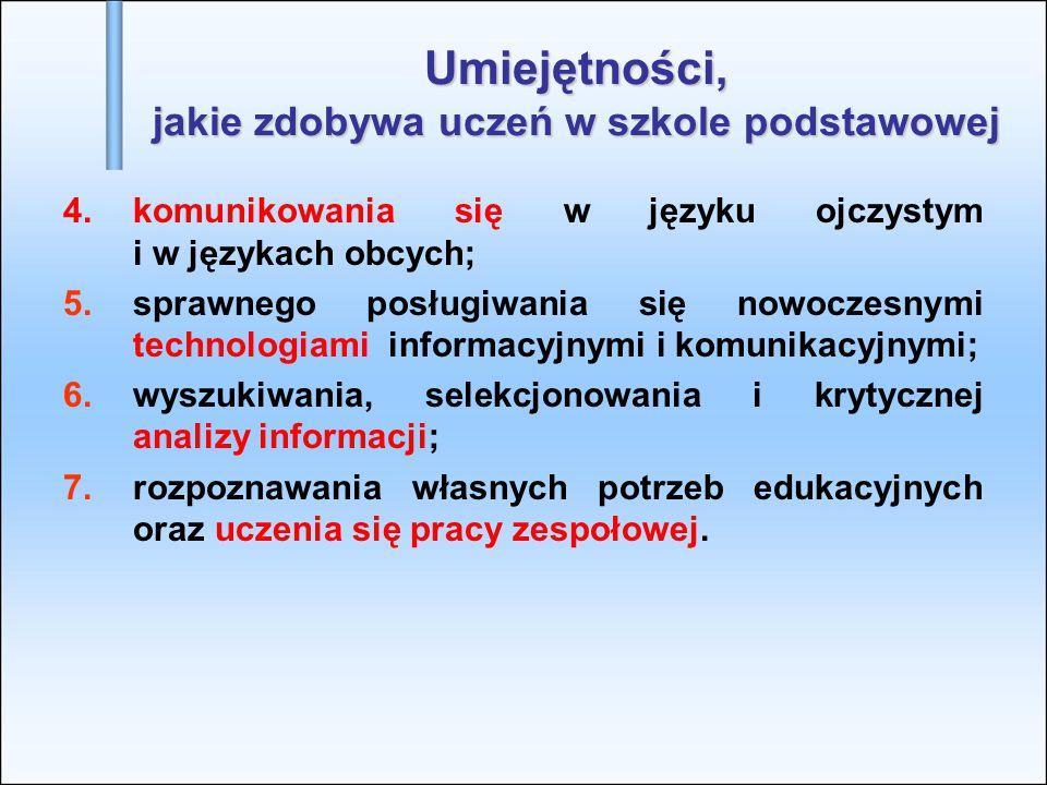 Umiejętności, jakie zdobywa uczeń w szkole podstawowej 4.komunikowania się w języku ojczystym i w językach obcych; 5.sprawnego posługiwania się nowocz