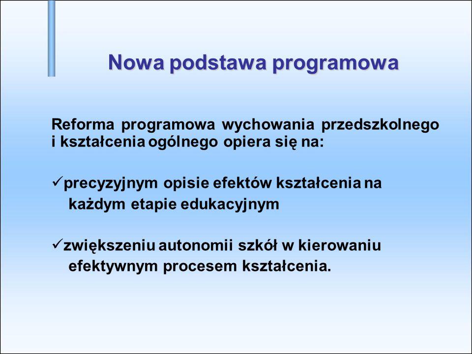 Nowa podstawa programowa Reforma programowa wychowania przedszkolnego i kształcenia ogólnego opiera się na: precyzyjnym opisie efektów kształcenia na