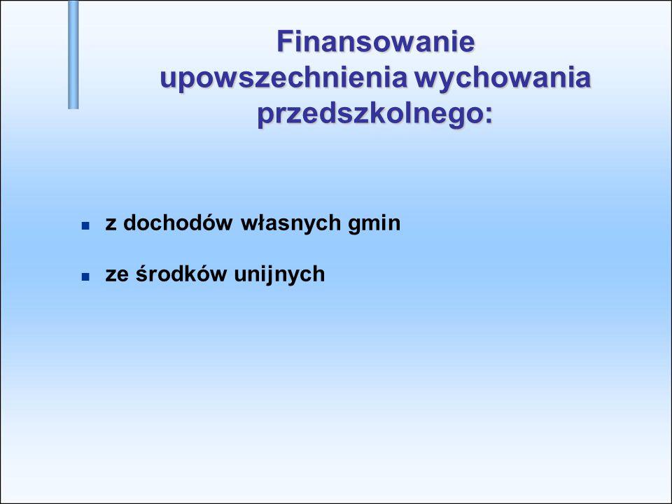 Finansowanie upowszechnienia wychowania przedszkolnego: z dochodów własnych gmin ze środków unijnych