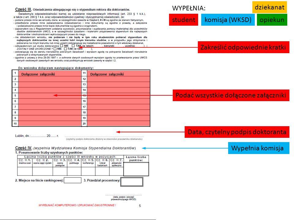 studentkomisja (WKSD)opiekun WYPEŁNIA: dziekanat Data, czytelny podpis doktoranta Wypełnia komisja Zakreślić odpowiednie kratki Podać wszystkie dołączone załączniki Dołączone załączniki